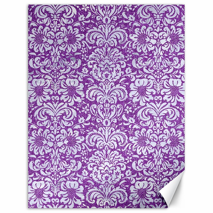 DAMASK2 WHITE MARBLE & PURPLE DENIM Canvas 18  x 24