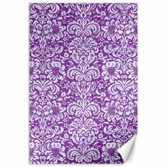 Damask2 White Marble & Purple Denim Canvas 24  X 36