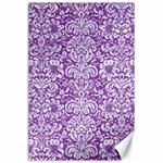 DAMASK2 WHITE MARBLE & PURPLE DENIM Canvas 24  x 36  36 x24 Canvas - 1