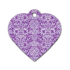 Damask2 White Marble & Purple Denim Dog Tag Heart (one Side)