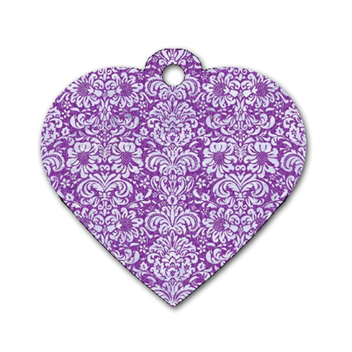 DAMASK2 WHITE MARBLE & PURPLE DENIM Dog Tag Heart (Two Sides)
