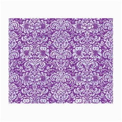 Damask2 White Marble & Purple Denim Small Glasses Cloth (2 Side) by trendistuff