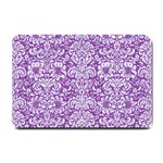 DAMASK2 WHITE MARBLE & PURPLE DENIM Small Doormat  24 x16 Door Mat - 1