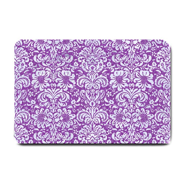 DAMASK2 WHITE MARBLE & PURPLE DENIM Small Doormat