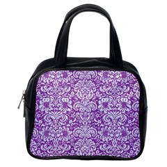 Damask2 White Marble & Purple Denim Classic Handbags (one Side)