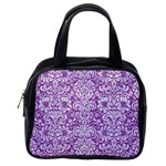 DAMASK2 WHITE MARBLE & PURPLE DENIM Classic Handbags (One Side) Front