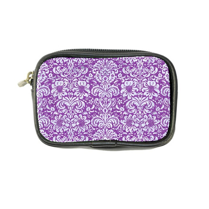 DAMASK2 WHITE MARBLE & PURPLE DENIM Coin Purse