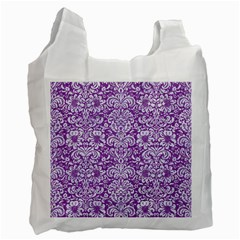 Damask2 White Marble & Purple Denim Recycle Bag (one Side)