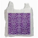 DAMASK2 WHITE MARBLE & PURPLE DENIM Recycle Bag (One Side) Front