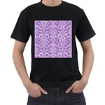 DAMASK2 WHITE MARBLE & PURPLE DENIM Men s T-Shirt (Black) Front