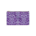 DAMASK2 WHITE MARBLE & PURPLE DENIM Cosmetic Bag (Small)  Front