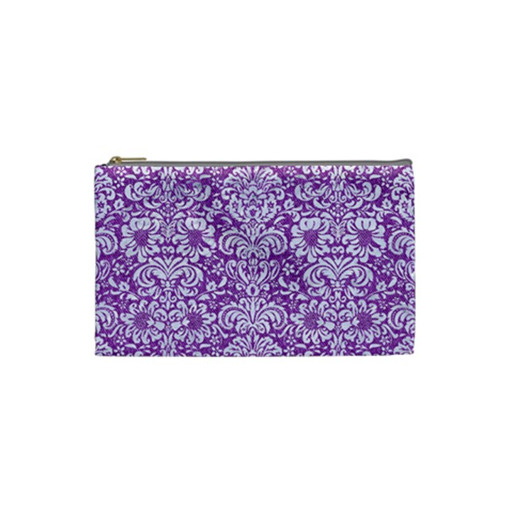 DAMASK2 WHITE MARBLE & PURPLE DENIM Cosmetic Bag (Small)