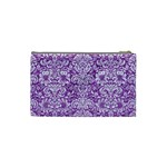 DAMASK2 WHITE MARBLE & PURPLE DENIM Cosmetic Bag (Small)  Back