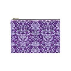 Damask2 White Marble & Purple Denim Cosmetic Bag (medium)