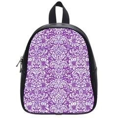 DAMASK2 WHITE MARBLE & PURPLE DENIM School Bag (Small)