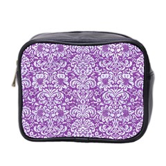Damask2 White Marble & Purple Denim Mini Toiletries Bag 2 Side