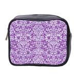 DAMASK2 WHITE MARBLE & PURPLE DENIM Mini Toiletries Bag 2-Side Front