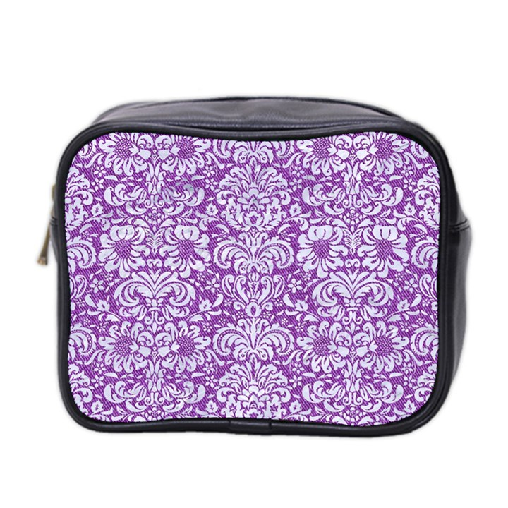DAMASK2 WHITE MARBLE & PURPLE DENIM Mini Toiletries Bag 2-Side