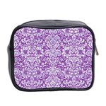DAMASK2 WHITE MARBLE & PURPLE DENIM Mini Toiletries Bag 2-Side Back
