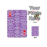 DAMASK2 WHITE MARBLE & PURPLE DENIM Playing Cards 54 (Mini)  Front - Heart10