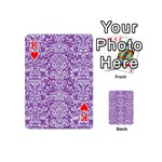 DAMASK2 WHITE MARBLE & PURPLE DENIM Playing Cards 54 (Mini)  Front - HeartK