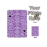 DAMASK2 WHITE MARBLE & PURPLE DENIM Playing Cards 54 (Mini)  Front - Spade5