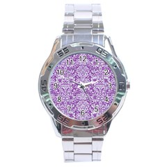Damask2 White Marble & Purple Denim Stainless Steel Analogue Watch by trendistuff