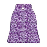 DAMASK2 WHITE MARBLE & PURPLE DENIM Ornament (Bell) Front