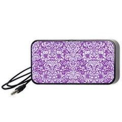 Damask2 White Marble & Purple Denim Portable Speaker by trendistuff