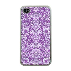 Damask2 White Marble & Purple Denim Apple Iphone 4 Case (clear)