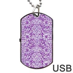 Damask2 White Marble & Purple Denim Dog Tag Usb Flash (one Side) by trendistuff