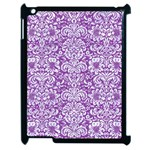 DAMASK2 WHITE MARBLE & PURPLE DENIM Apple iPad 2 Case (Black) Front