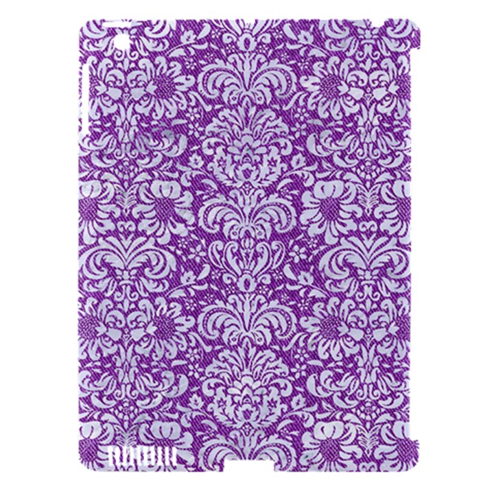 DAMASK2 WHITE MARBLE & PURPLE DENIM Apple iPad 3/4 Hardshell Case (Compatible with Smart Cover)