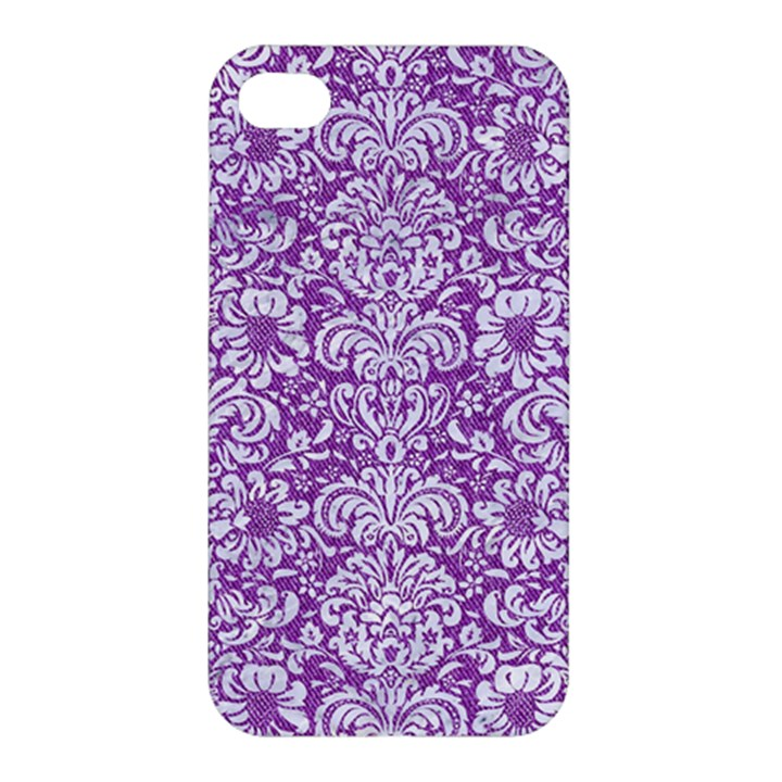 DAMASK2 WHITE MARBLE & PURPLE DENIM Apple iPhone 4/4S Premium Hardshell Case