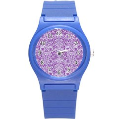 Damask2 White Marble & Purple Denim Round Plastic Sport Watch (s) by trendistuff