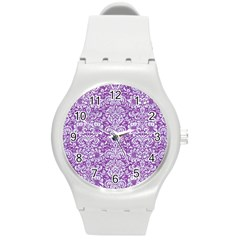Damask2 White Marble & Purple Denim Round Plastic Sport Watch (m) by trendistuff