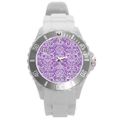 Damask2 White Marble & Purple Denim Round Plastic Sport Watch (l)