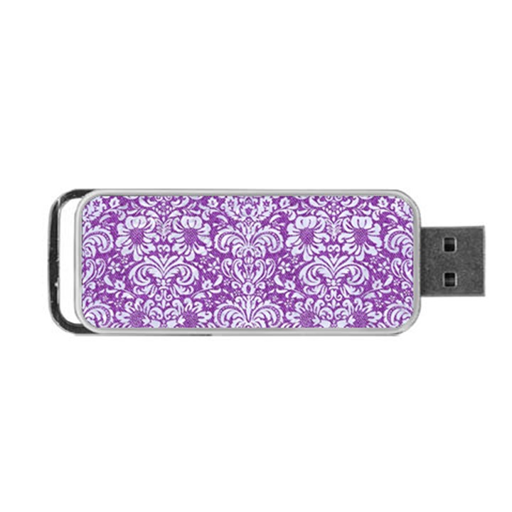 DAMASK2 WHITE MARBLE & PURPLE DENIM Portable USB Flash (One Side)