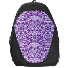 Damask2 White Marble & Purple Denim Backpack Bag