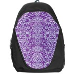 DAMASK2 WHITE MARBLE & PURPLE DENIM Backpack Bag Front
