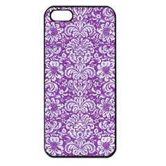 Damask2 White Marble & Purple Denim Apple Iphone 5 Seamless Case (black)