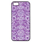 DAMASK2 WHITE MARBLE & PURPLE DENIM Apple iPhone 5 Seamless Case (Black) Front