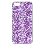DAMASK2 WHITE MARBLE & PURPLE DENIM Apple Seamless iPhone 5 Case (Clear) Front