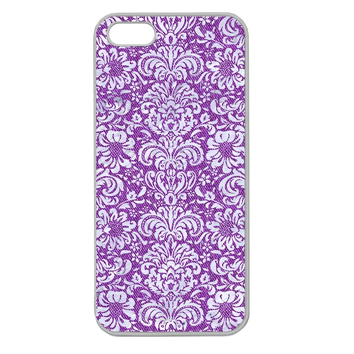 DAMASK2 WHITE MARBLE & PURPLE DENIM Apple Seamless iPhone 5 Case (Clear)
