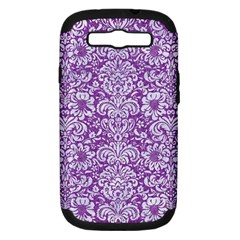 Damask2 White Marble & Purple Denim Samsung Galaxy S Iii Hardshell Case (pc+silicone)
