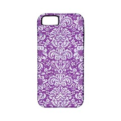 Damask2 White Marble & Purple Denim Apple Iphone 5 Classic Hardshell Case (pc+silicone)