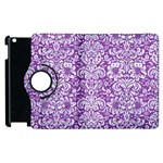 DAMASK2 WHITE MARBLE & PURPLE DENIM Apple iPad 3/4 Flip 360 Case Front