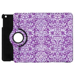 Damask2 White Marble & Purple Denim Apple Ipad Mini Flip 360 Case