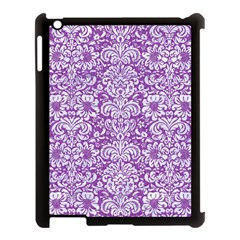 Damask2 White Marble & Purple Denim Apple Ipad 3/4 Case (black) by trendistuff