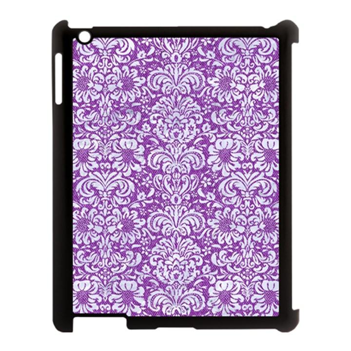 DAMASK2 WHITE MARBLE & PURPLE DENIM Apple iPad 3/4 Case (Black)